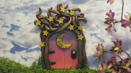 Magical Celestial Moon and Stars Fairy Door by diablosbelle