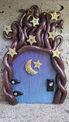 Blue Celestial Tree Fairy Door by diablosbelle