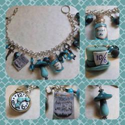 Teal Alice in Wonderland Bracelet by diablosbelle