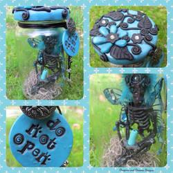 Teal Dead Fairy Jar by diablosbelle