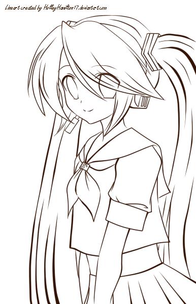 Vocaloid Hatsune Miku Lineart by DeadPoetic17