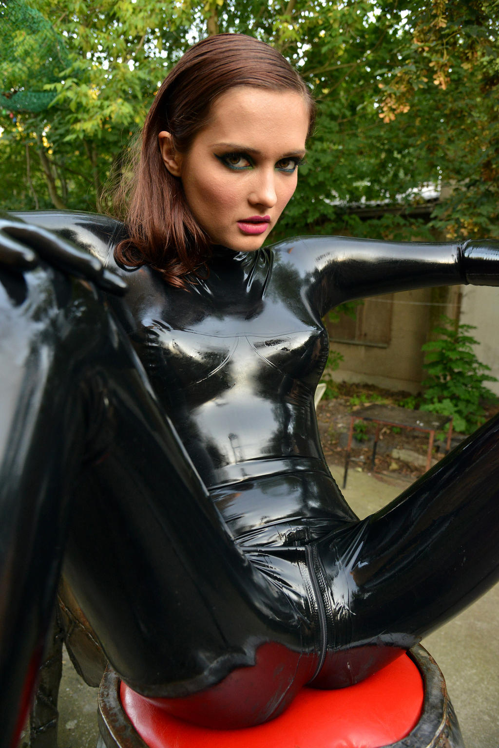 Girls in rubber latex