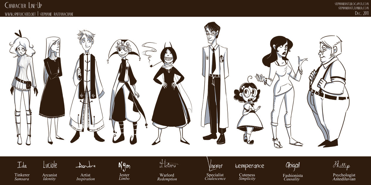 Line Art Characters : Character line up by marionettedolly on deviantart