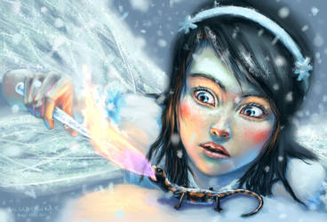 Fire Salamander vs Ice Fairy by algenpfleger
