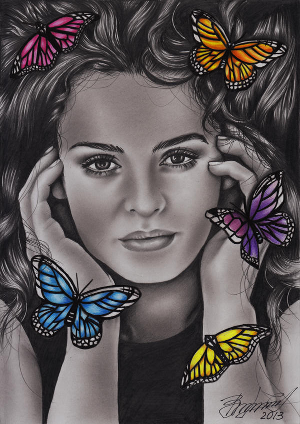 Christina and Butterflies by Vira1991