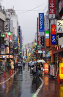 Rainy Kichijoji Street by SuperPope