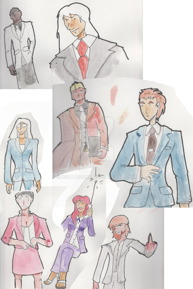 Watercolor N Suits Study by Ignatz20xx