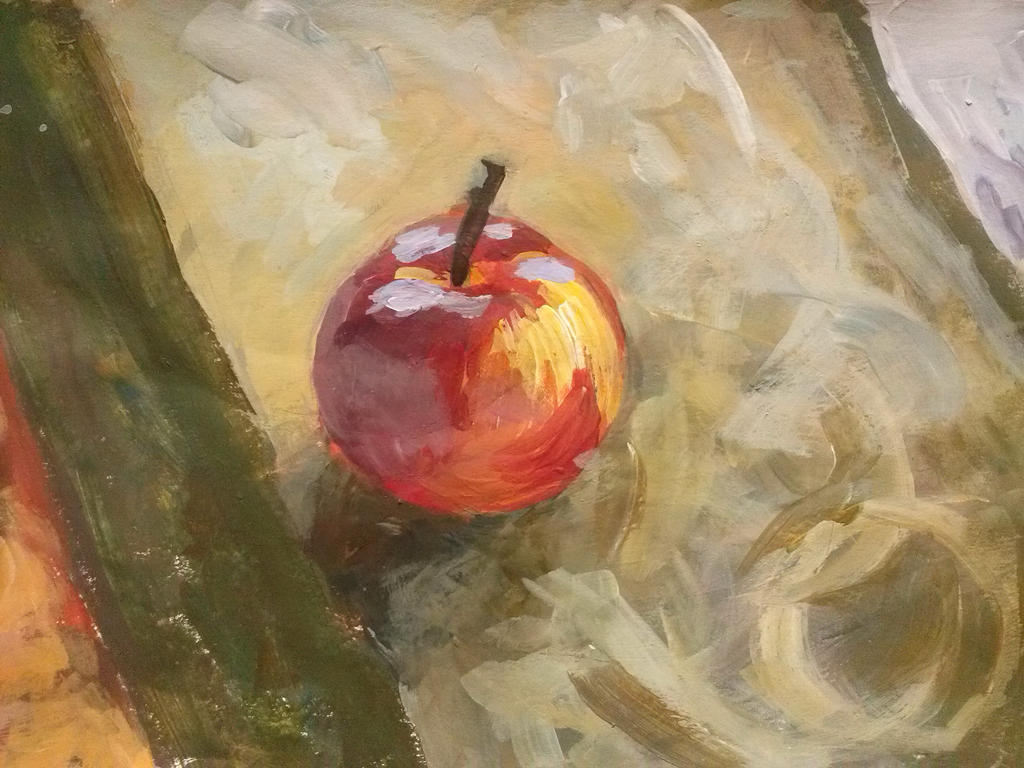 An apple in Acrylic paint by UsayFudo