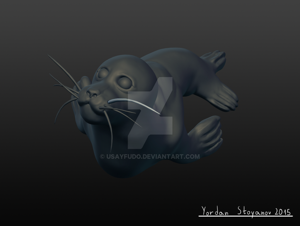 Seal 3d sculpture- top view by UsayFudo