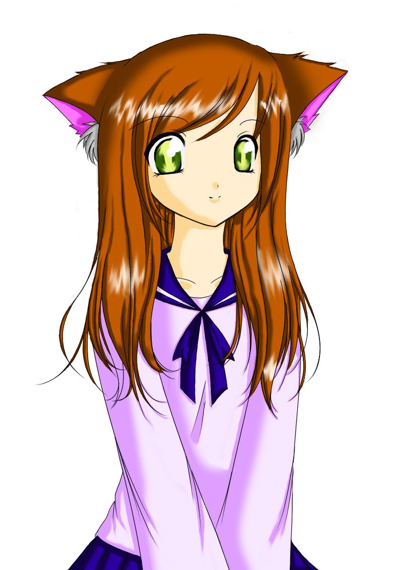 Anime cat girl coloured by lunaticflowerxx anime cat girl coloured by lunaticflowerxx