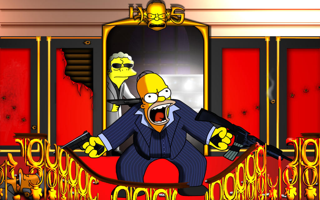 Homer Simpson in Scarface by Shuyab