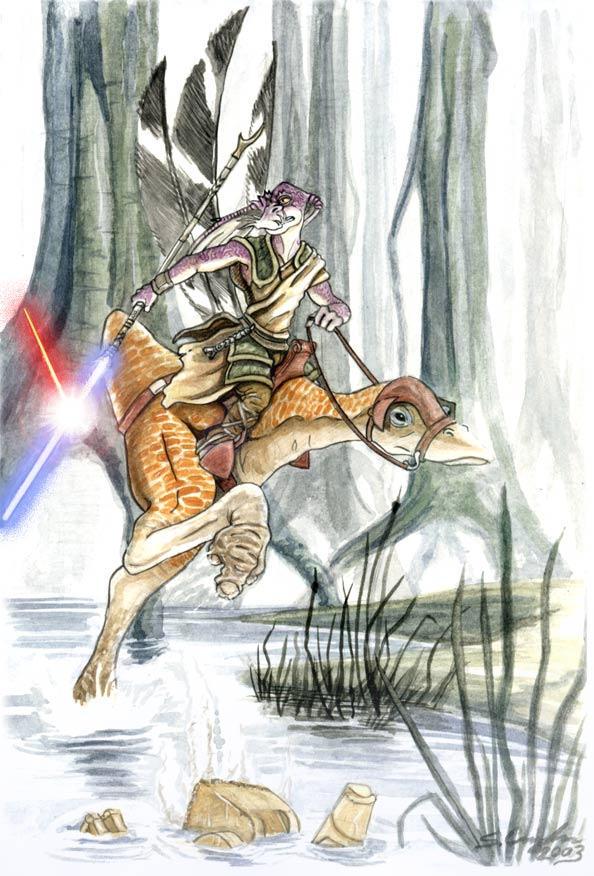 Gungan Jedi Knight on Kaadu by StuCunningham