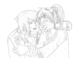 Saitou Hajime + Chizuru *sketch* by DiamondRoseTears