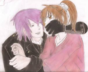 Saitou Hajime + Chizuru *colored* by DiamondRoseTears