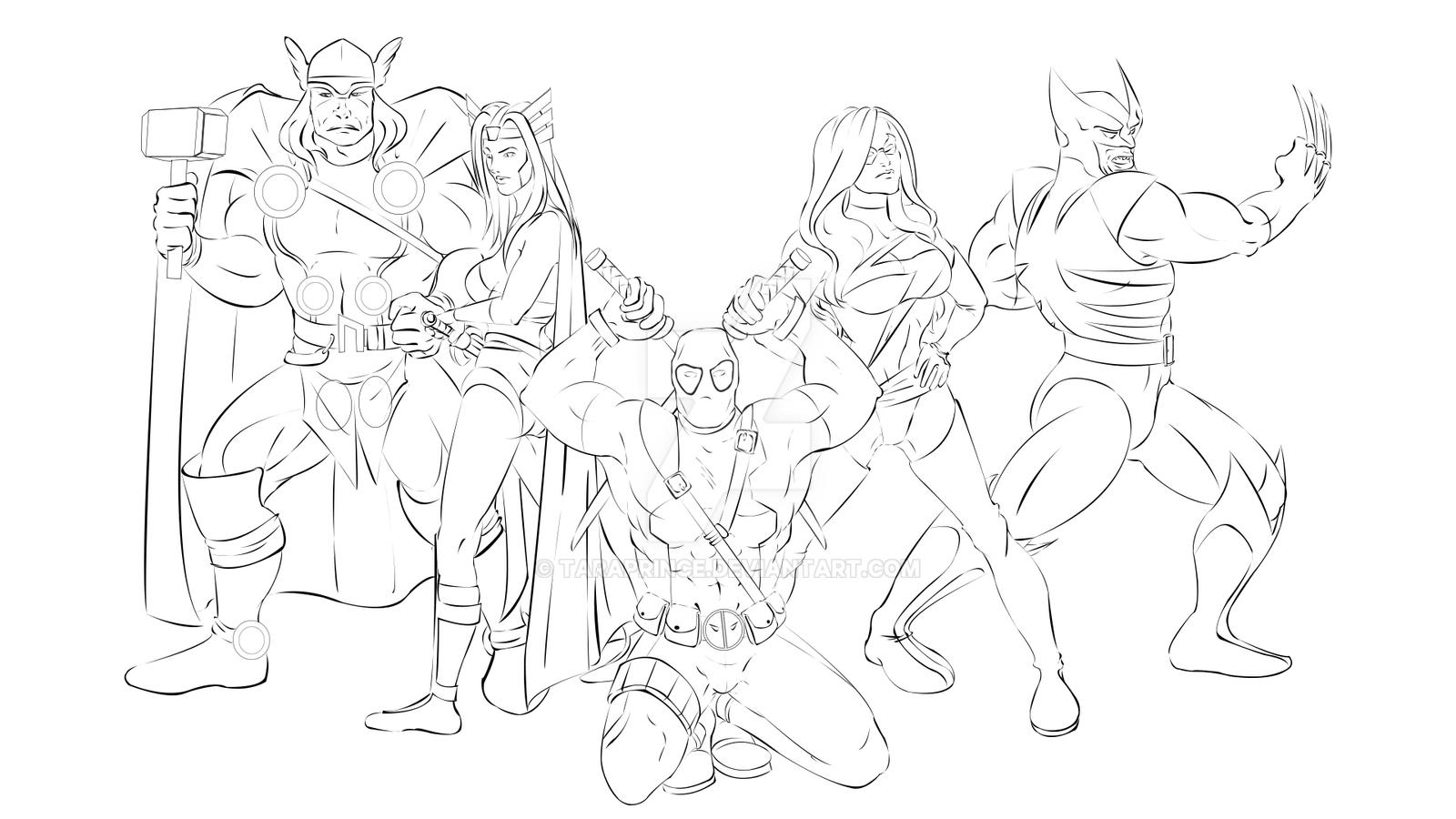 Line Art Marvel : Marvel wallpaper line art by taraprince on deviantart