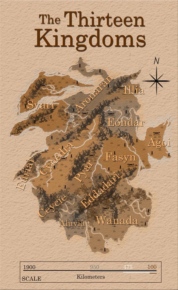 Map of the Thirteen Kingdoms by TaraPrince