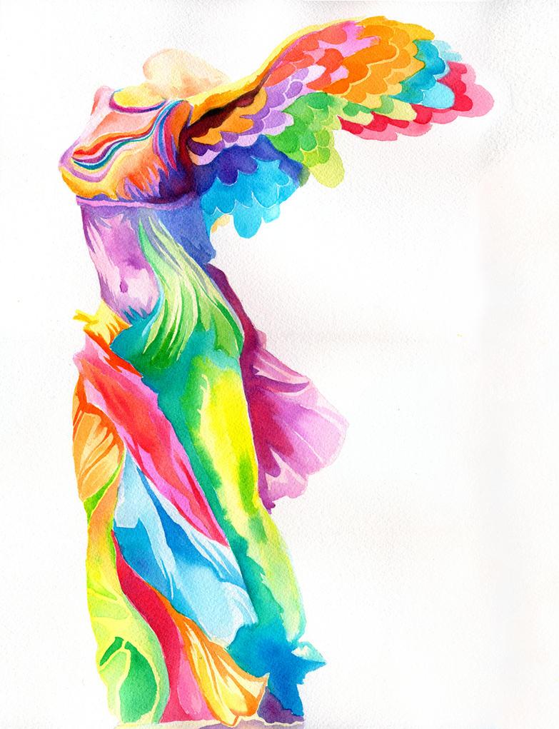 Nike of Samothrace by PaintMyWorldRainbow