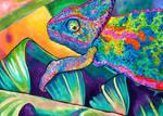 Neon Chameleon II by PaintMyWorldRainbow