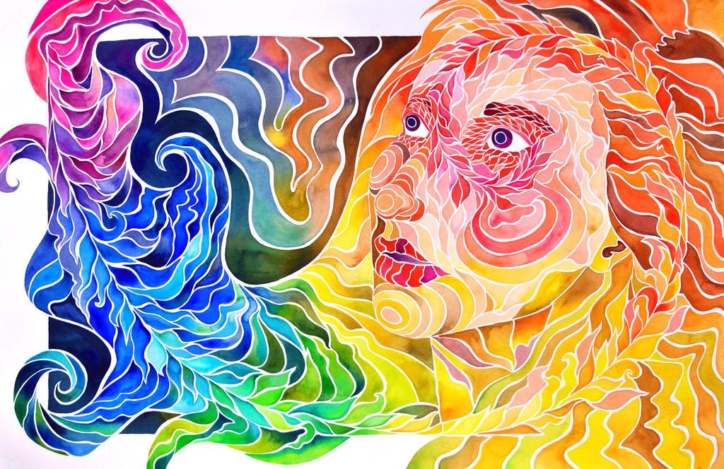 Fibonacci Spiral Self-Portrait by PaintMyWorldRainbow on ...