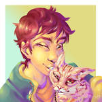 self portrait with Chloe by Goldthecat