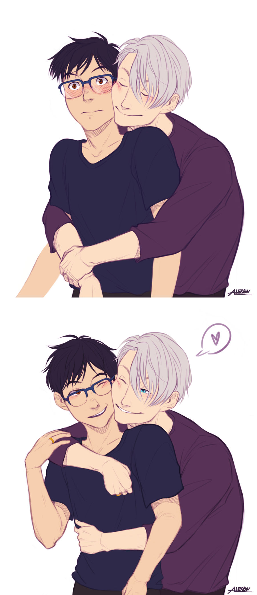 The transition of Yuuri reacting to Victor's hugs