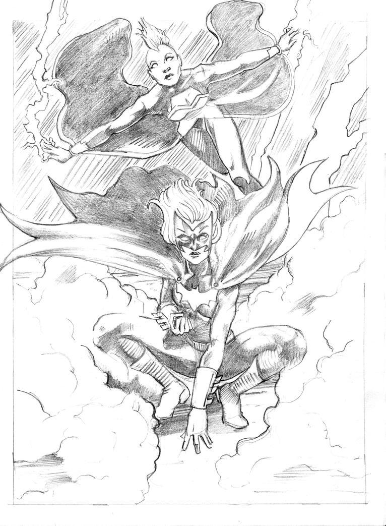 Storm and Batwoman by JBEmmett