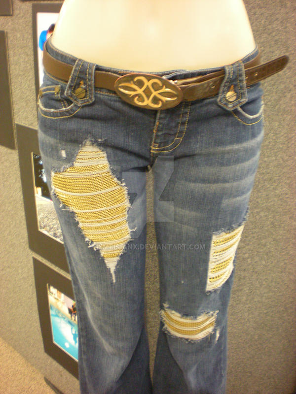 Chainmail-Patched Jeans  Front