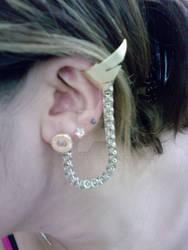 Set of Three Bullet Earrings w/ Wing Cuff 2