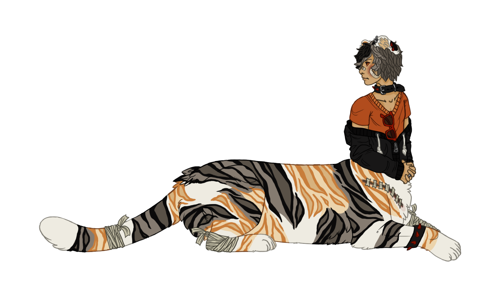 Battered 'n' Patched Calico Tiger Taur: Gift by TeacupChimera