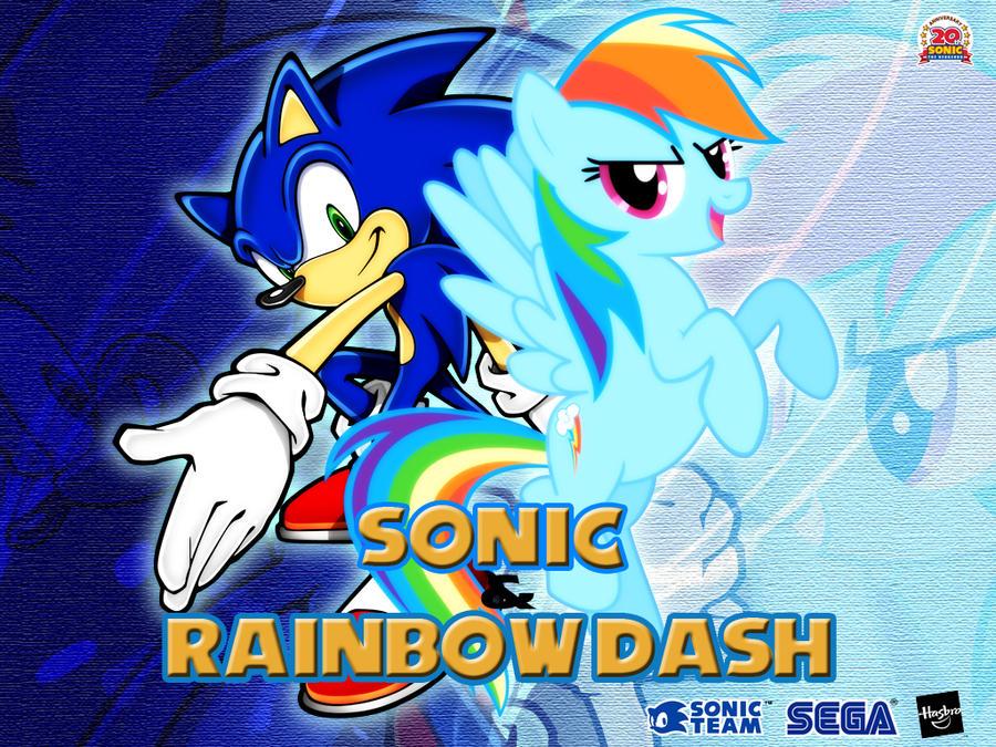 Wallpaper Sonic the Hedgehog and Rainbow Dash by LightDegel