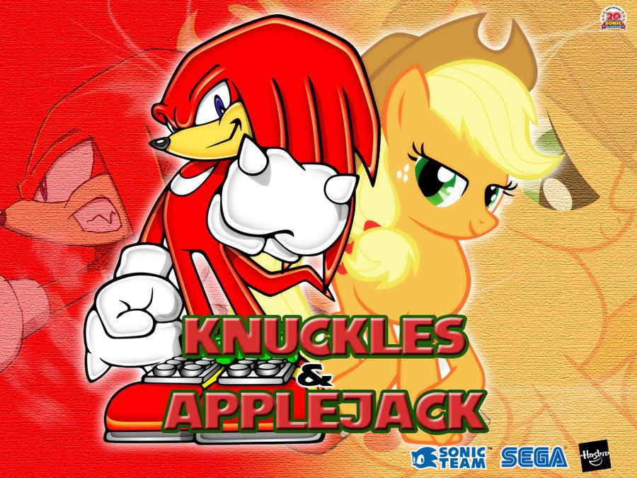 Wallpaper Knuckles the Echidna and Applejack by LightDegel