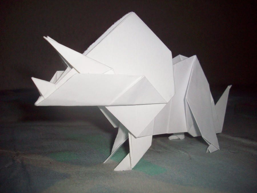 triceratops origami by lightdegel on deviantart