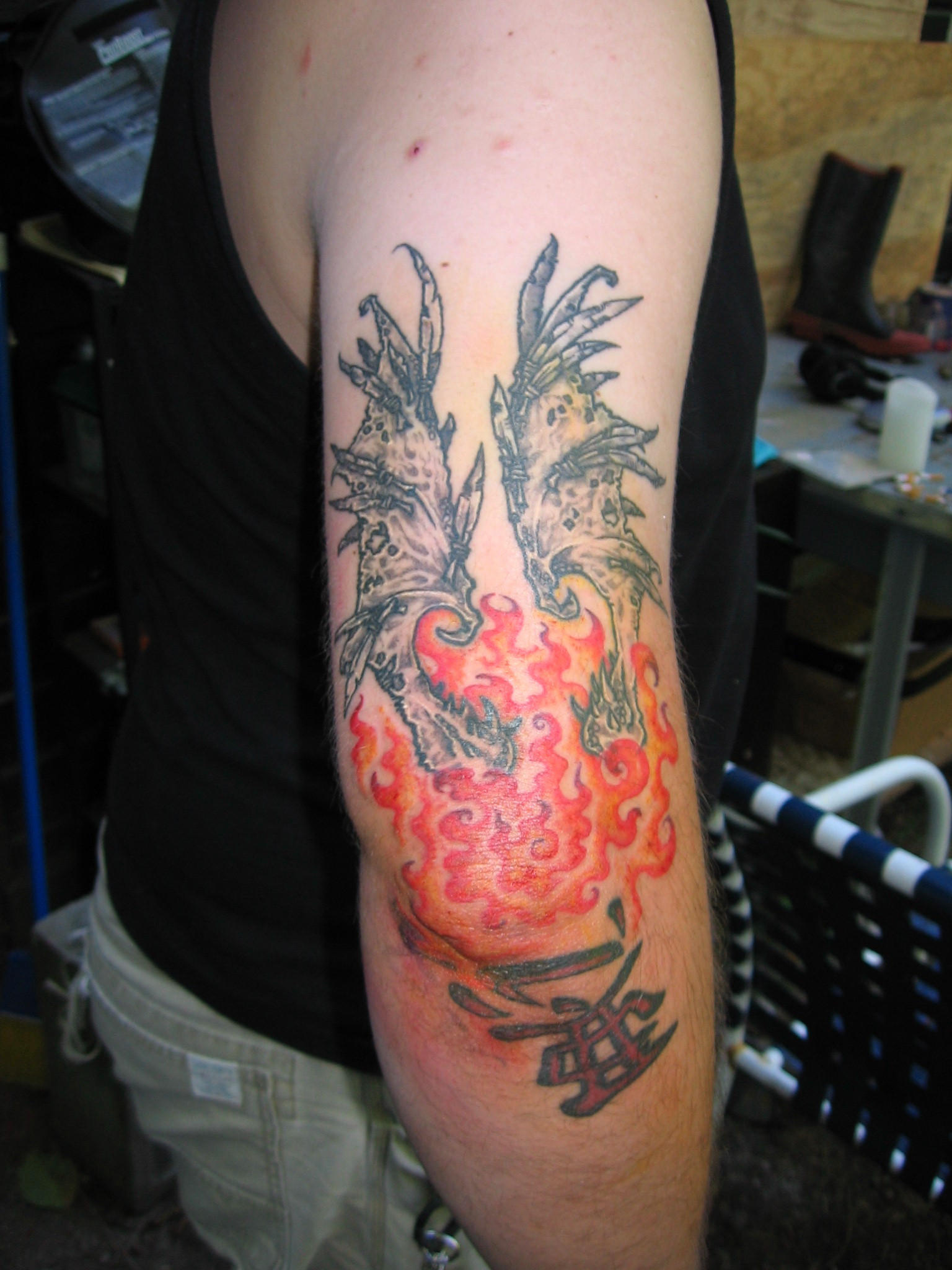 Pin heaven or hell by pain on pinterest for Battle between heaven and hell tattoo