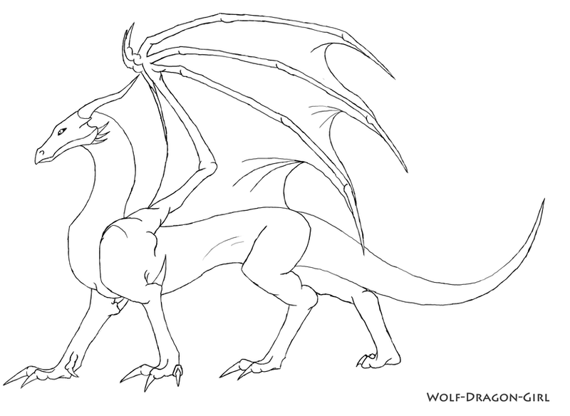 Free Dragon Lineart by Wolf-Dragon-Girl