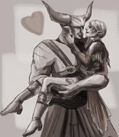 Bull x Lavellan random sketch by YoungGirlBlues