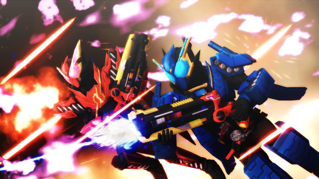 [MMD KAMEN RIDER] The Speedy Red and Armored Blue by MIST-TO-GUN
