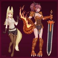 Inari and Salamander by WLPER