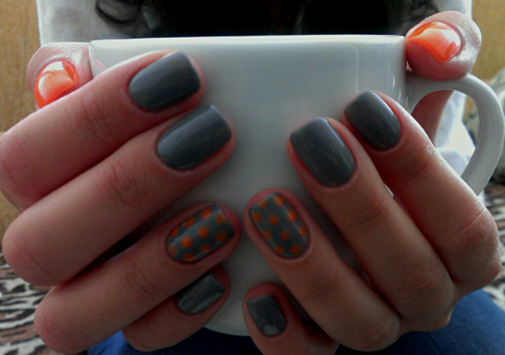hybrid nails - grey and orange with polka dot by mmkrys on ...
