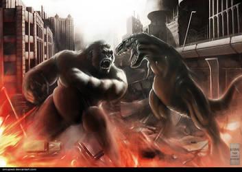 KONG vs V-rex by omupied