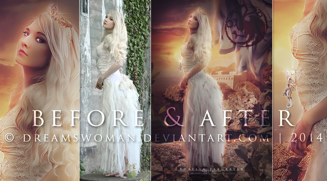 Before and After - Rhaella Targaryen by dreamswoman