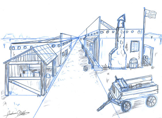 Old west town by VolscalkurOld Western Town Drawing
