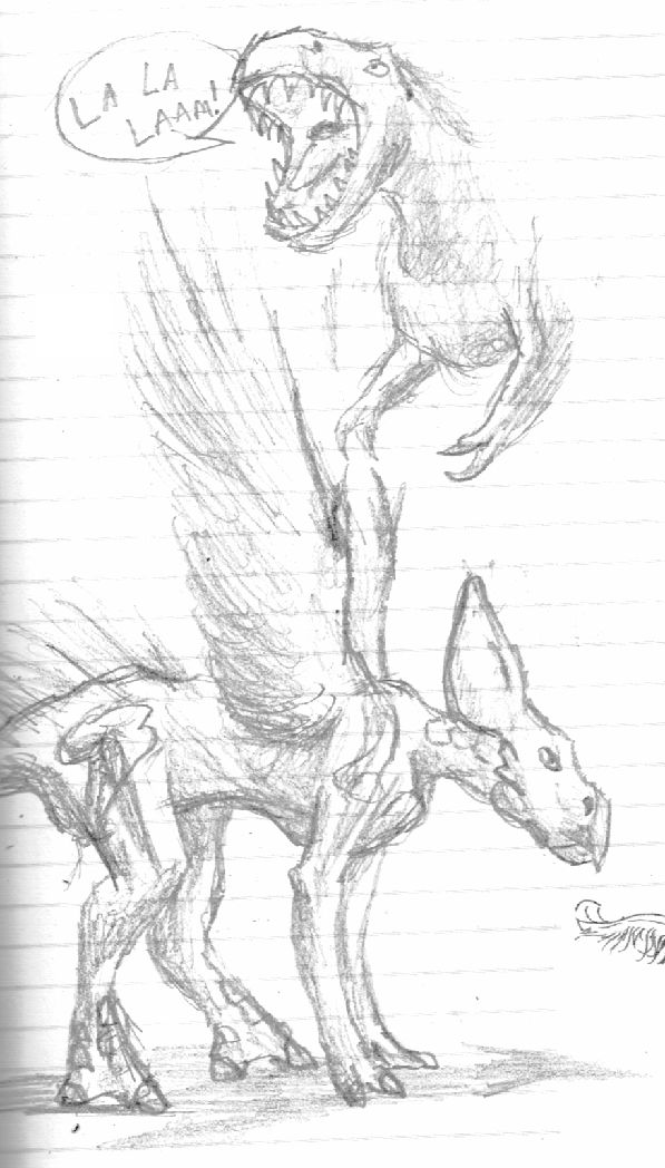 Juvenile Griffin and Singing T. rex