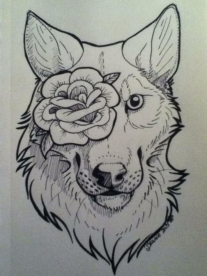 Wolf And Rose Tattoo By Wynterfang On Deviantart
