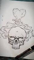 Skull smoke heart