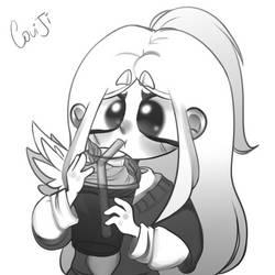 drinks a mint - flavored milkshake