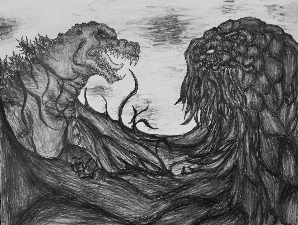 Godzilla vs. Hedorah Drawing by Kongzilla2010