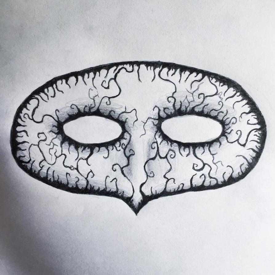 Masquerade Mask Drawing Burton Style. by Kongzilla2010