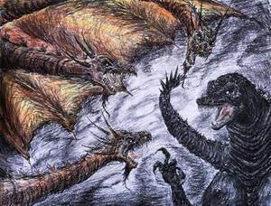 Godzilla vs. King Ghidorah Tim Burton Style.