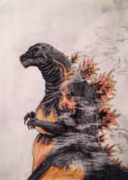 Burning Godzilla Sketch. by Kongzilla2010