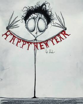 Edward Scissorhands wishing a Happy New Year.